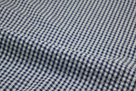 Blue & White Check Seersucker Fabric