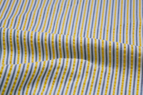 Yellow, Black & White Stripe Seersucker Fabric