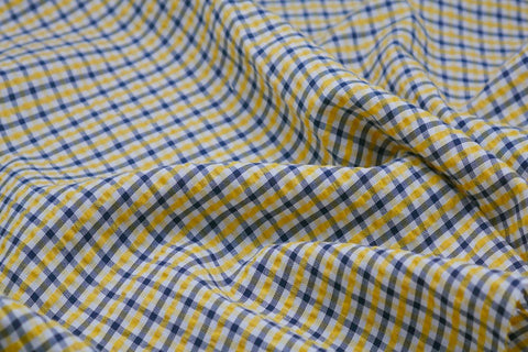 Yellow, Black & White Checked Seersucker Fabric