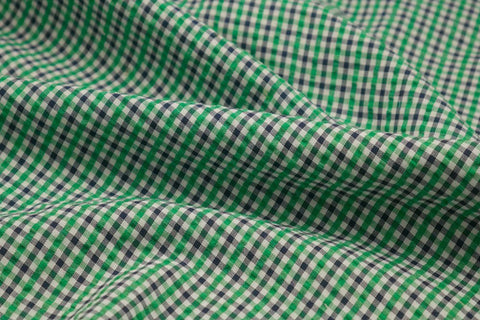 Green, Black & White Checked Seersucker Fabric