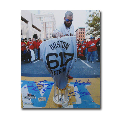 "Autographed Jonny Gomes 8-by-10 inch unframed Boston Marathon finish line photo inscribed ""Boston Strong"". - Peazz Toys"