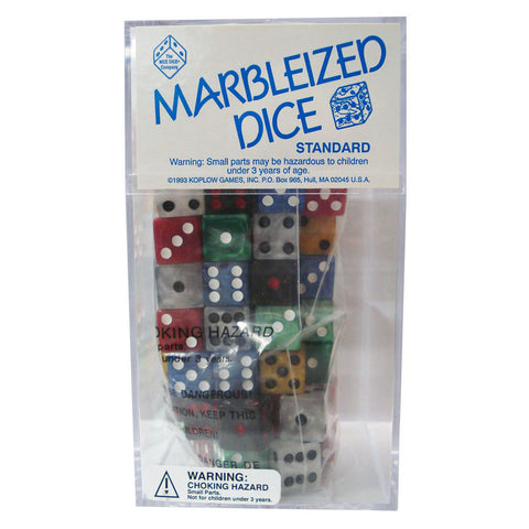 Dice: D6 100/Box 16Mm Marbelized Asst. - Peazz Toys