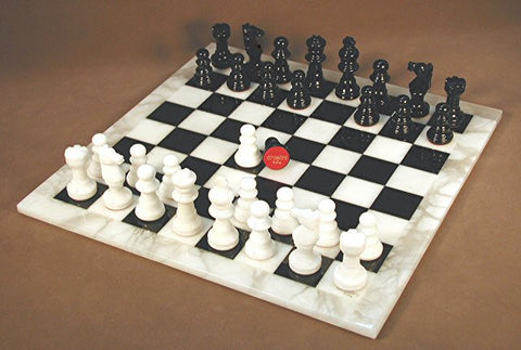 "14.5"" Alabaster Chess Set, Black & White Squares, White Frame, 3"" King - Peazz Toys"