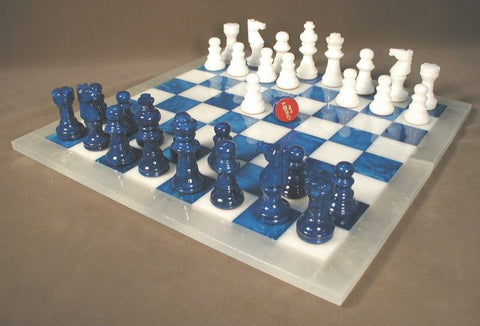 "Alabaster Chess Set with 14.5"" Blue/White Chess Board, White Frame, 3"" King - Peazz Toys"