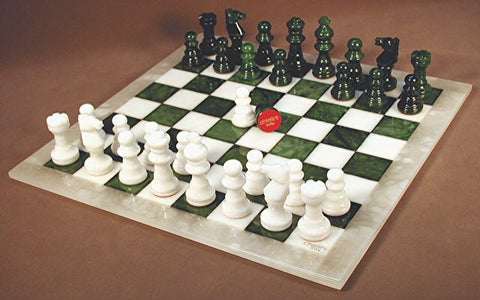 "Alabaster Chess Set, Green/White Chess Board with White Frame, 3"" King - Peazz Toys"