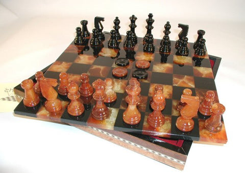"13 1/2"" Alabaster Checkers & Chess Set in Inlaid Wood Chest; Black & Brown, 3"" King - Peazz Toys"