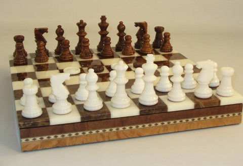 "13 1/2"" Alabaster Checkers & Chess Set in Inlaid Wood Chest; Brown & White, 3"" King - Peazz Toys"