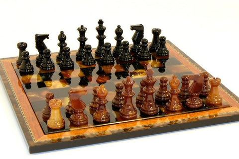 "15"" Alabaster Chess Set, Inlaid Wood Frame, Black & Brown, 3"" King - Peazz Toys"
