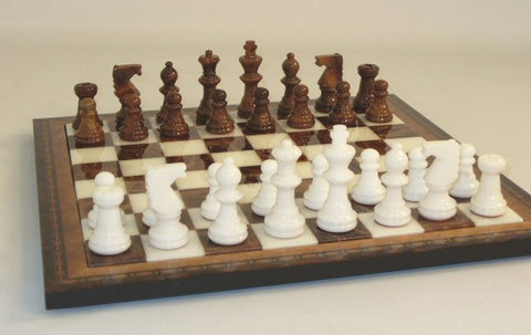 "15"" Alabaster Chess Set, Inlaid Wood Frame, Brown & White 3"" King - Peazz Toys"