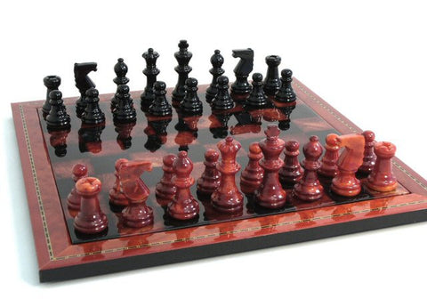 "15"" Alabaster Chess Set, Inlaid Wood Frame, Red & Black, 3"" King - Peazz Toys"