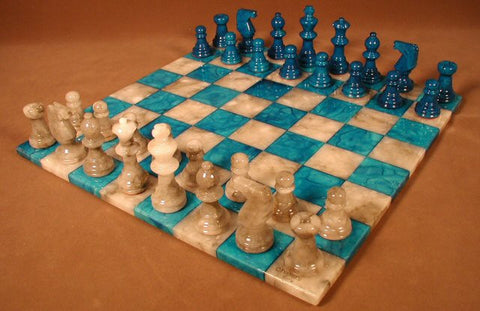 "14"" Alabaster Chess Set, Blue/Grey Chess Board, 3"" King - Peazz Toys"