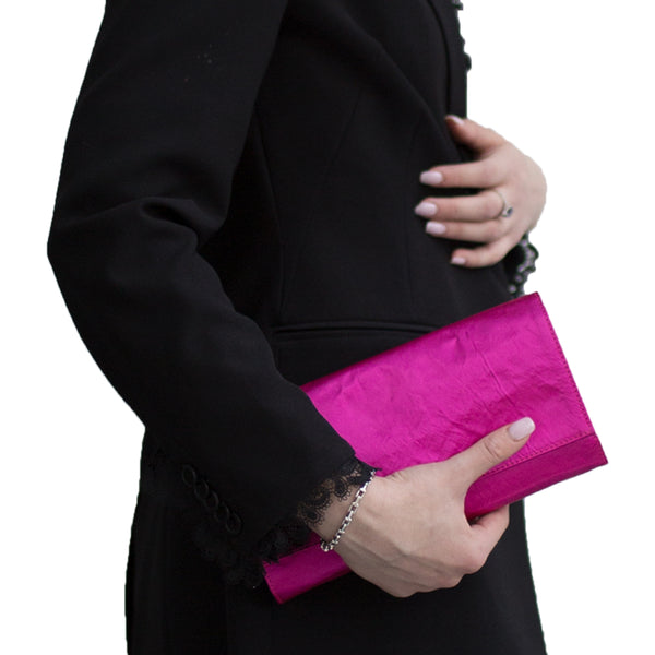 """Satin Medium Clutch"" Fucsia"
