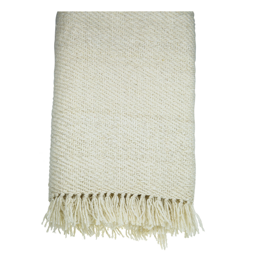 Cream Cotton & Wool Throw