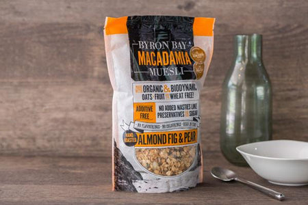 Byron Bay Muesli Organic Almond, Fig & Pear Macademia Muesli 450g Pantry > Granola, Cereal, Oats & Bars