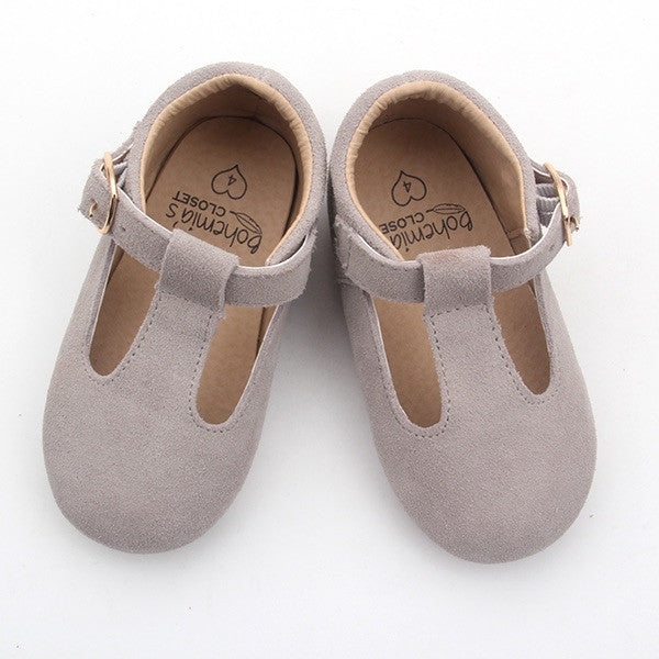 'Bunny' grey suede t-bar hard sole toddler & children's shoes