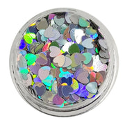 Hollow Heart - Silver Holographic Chunky Glitter Hearts