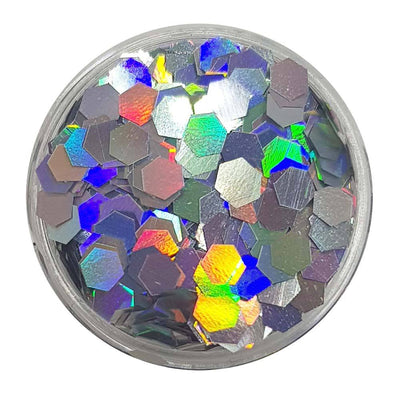 Silver Large Flake Glitter (Holographic Glitter Hexagons) - Silver Bullion