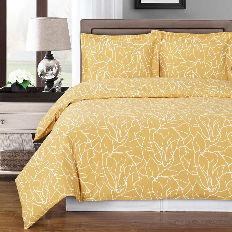 Yellow and White Cotton Duvet Cover Set,bedding set,Adley & Company Inc.