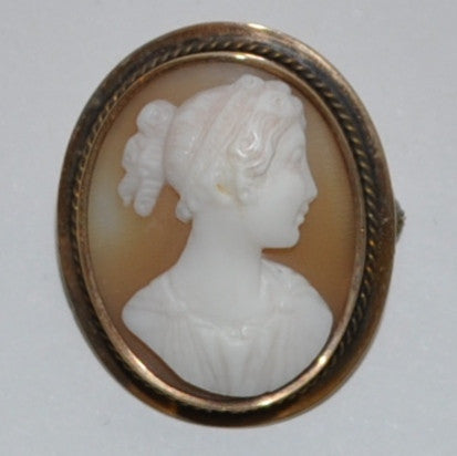 Vintage Shell Cameo Brooch with Lady in Profile 14k Yellow Gold Frame