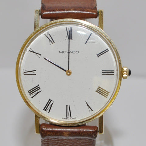 14K Movado Zenith Watch With Brown Leather Strap - Westmount, Montreal, Quebec