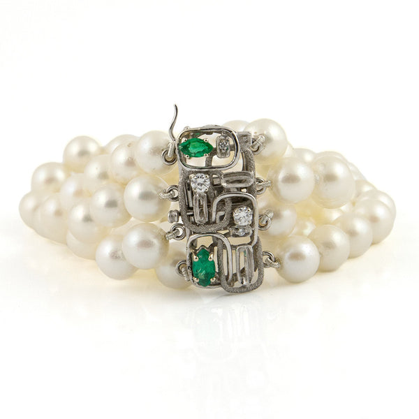 Japanese Cultured Pearl Bracelet with Emeralds and Diamonds - Westmount, Montreal