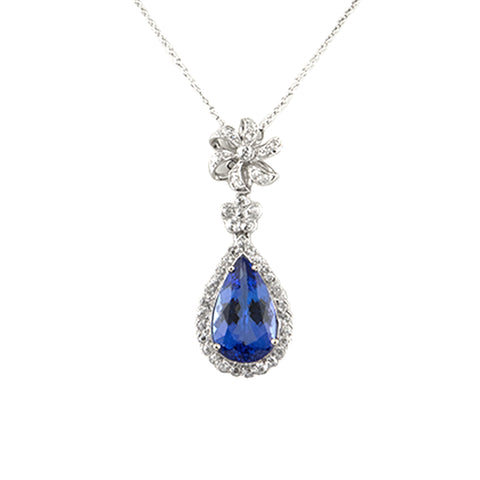 Antique Diamond Platinum Pendant with New Tanzanite - Westmount , Montreal Jeweller