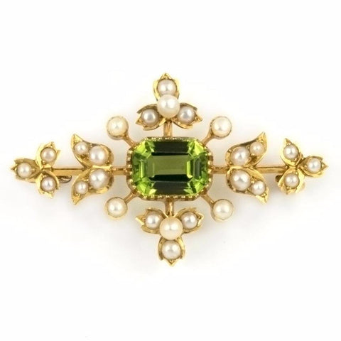 Vintage Peridot and Seed Pearl Brooch in 15k Gold - Westmount Montreal Jewellers