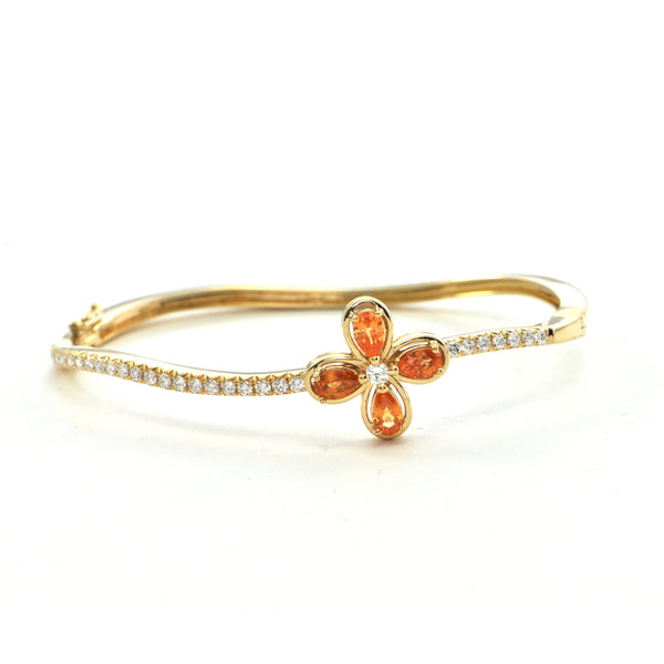 1.97 cts Orange Garnet and 0.67 cts Diamond Hinged Bangle Bracelet  - montreal estate jewellers
