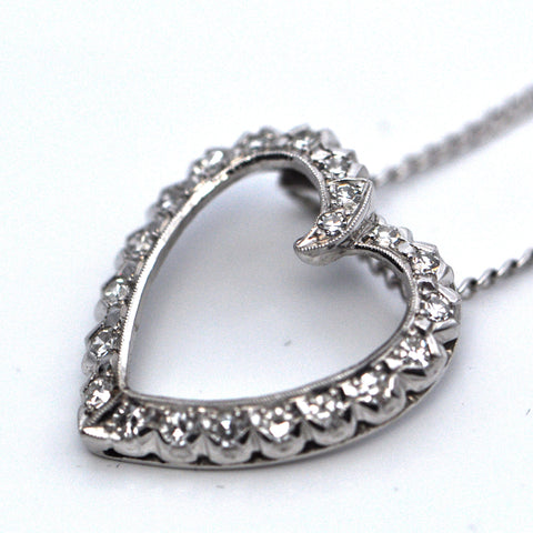 Diamond heart shaped pendant - Montreal Jewelry