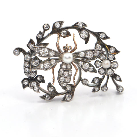 Antique Austro-Hungarian Pearl & Diamond Bug Brooch, montreal estate jewellers