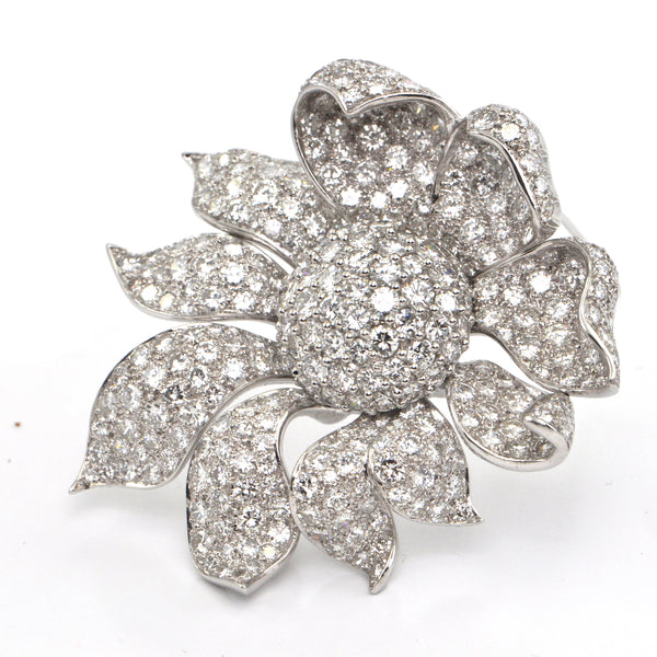 22.0 ct Flower Diamond White Gold Brooch/Pendant - Westmount, Montreal