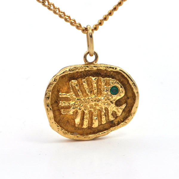 WALTER SCHLUEP Emerald 18k gold Pisces Pendant , Estate Jewellery Montreal