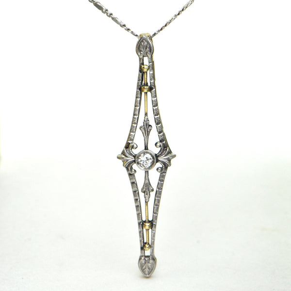 0.07 CT Old European Diamond Edwardian Pendant Circa 1910 - Montreal Estate Jewellers