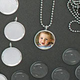 Make 10 Small 16mm Glass Photo Necklaces w/ Mini Ball Chains Kit