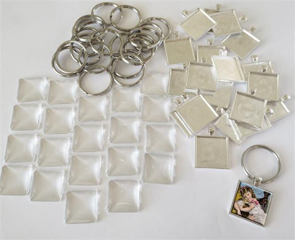 Square 1 1/4 Inch Photo Keychain Supplies Pack Makes 20
