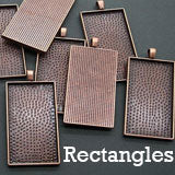 10 Pack 2 inch Rectangle Photo Jewelry Pendant W/ Krystal Clear-itz Epoxy Covers Copper