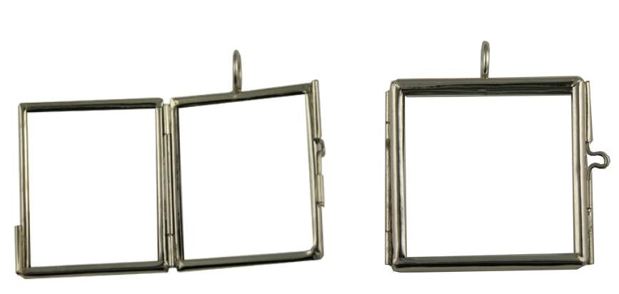 Glass Photo Locket Square Soldered Hinged