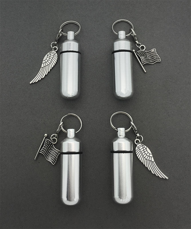 In Memory of Veterans Set of 4 Funeral Ashes Holder Urn Vial Key Chains w/ Clip on Charms