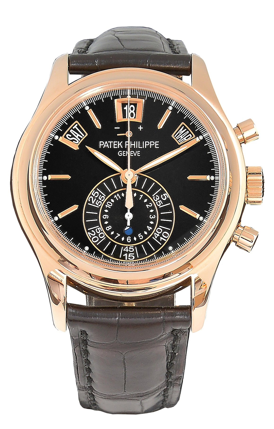 Patek Philippe Rose Gold Annual Calendar Chronograph Watch, Black Dial