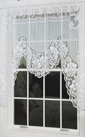 Heritage Lace VICTORIAN ROSE Swag 60x48 WHITE Made in USA