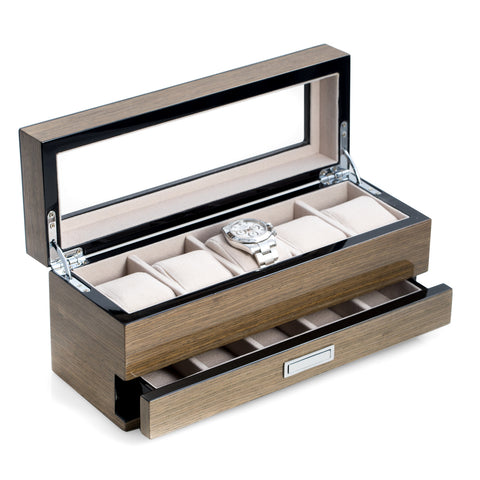 Bey-Berk 5 WATCH Box and Drawer Wood w/ Glass Top GRAY