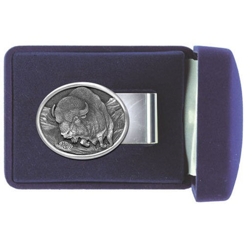 BUFFALO Money Clip Solid PEWTER w/Gift Box