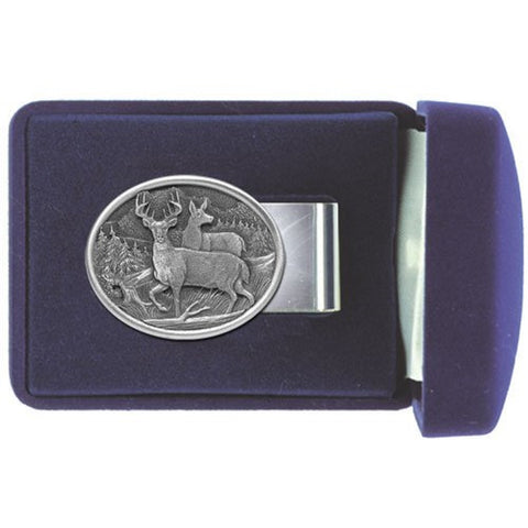 DEER Money Clip WHITE TAIL Solid PEWTER w/Gift Box