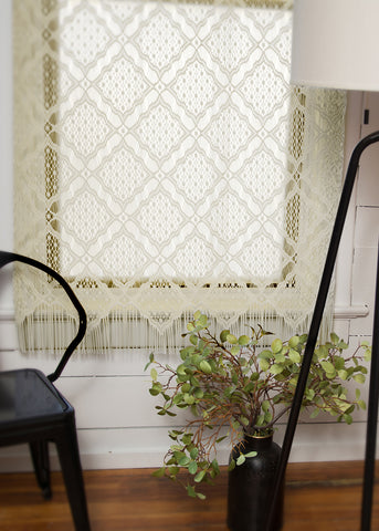 Heritage Lace PANEL Diamond Fringe 48x84 CAFE Made in USA