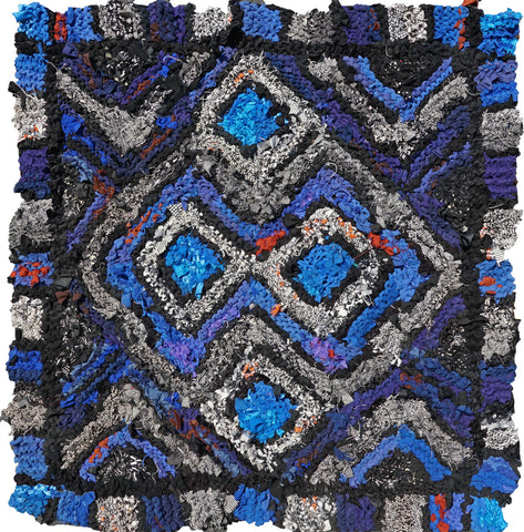 "Black and White and Blue Log Cabin Rag Rug, 38"" x 42"" - Knitted rug -  -  Karen Tiede Studio"