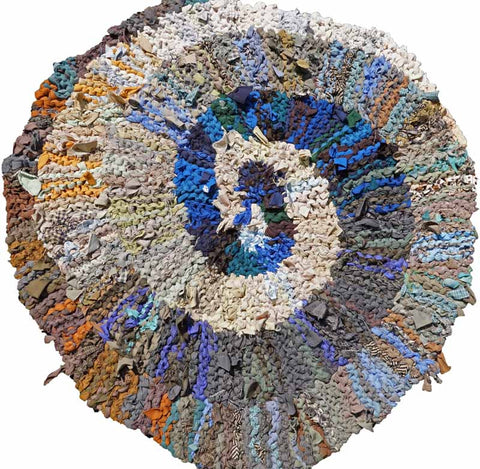 "Blue & Brown Spiral Rag Rug, 36"" - Knitted rug -  -  Karen Tiede Studio"