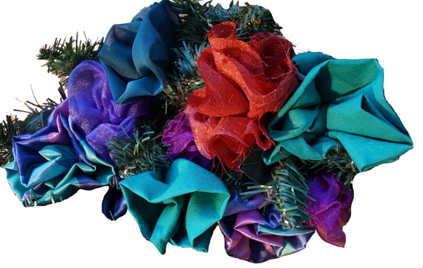 Turquoise & Copper Fabric Flower Wreath