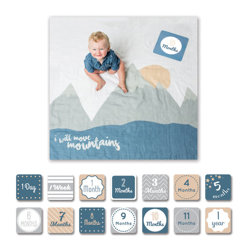 Lulujo I will move mountains milestone set. Muslin blanket and card combination