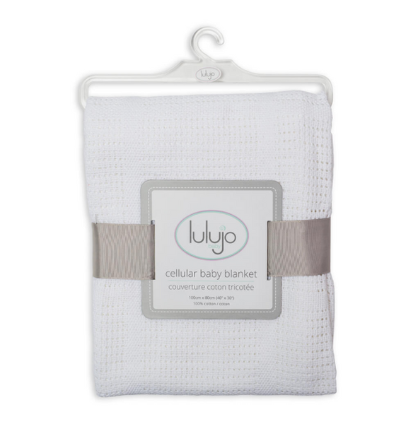 Lulujo cotton blanket in white, baby accessories