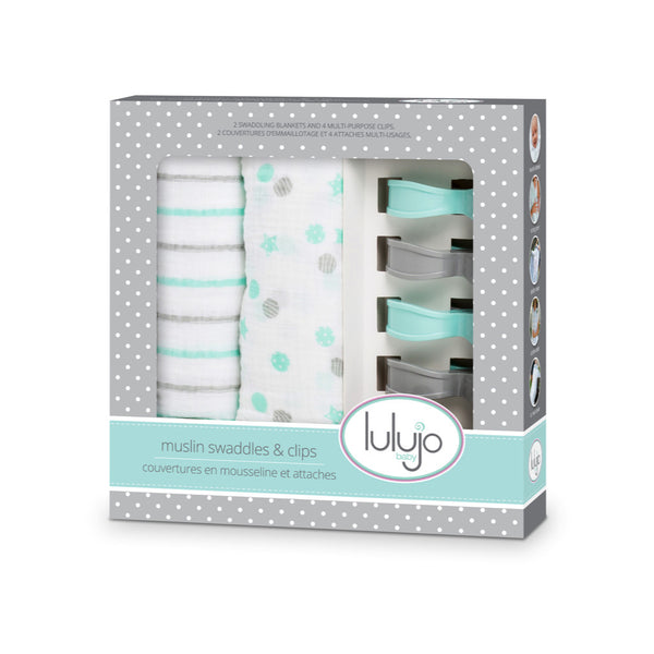 Lulujo swaddle and clips, aqua, breathable, baby accessories